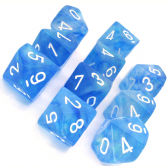 Sky Blue & White Borealis D10 Ten Sided Dice Set